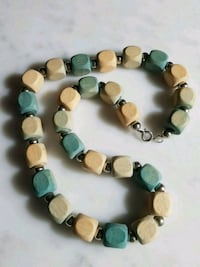 Vintage Wooden Bead Necklace - lite teal & natural