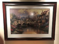 "Framed and Glassed Lithograph Titled "" Cobblestone Brook"" Signed Thomas Kinkade 3227/4850"