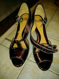 pair of black leather open-toe ankle strap heels Moreno Valley, 92557
