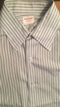 white and gray pinstriped dress shirt