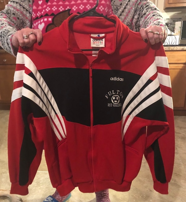 check out a12bd 2eb3a Never worn Adidas Fulton Red Raiders Soccer size LARGE zip up jacket