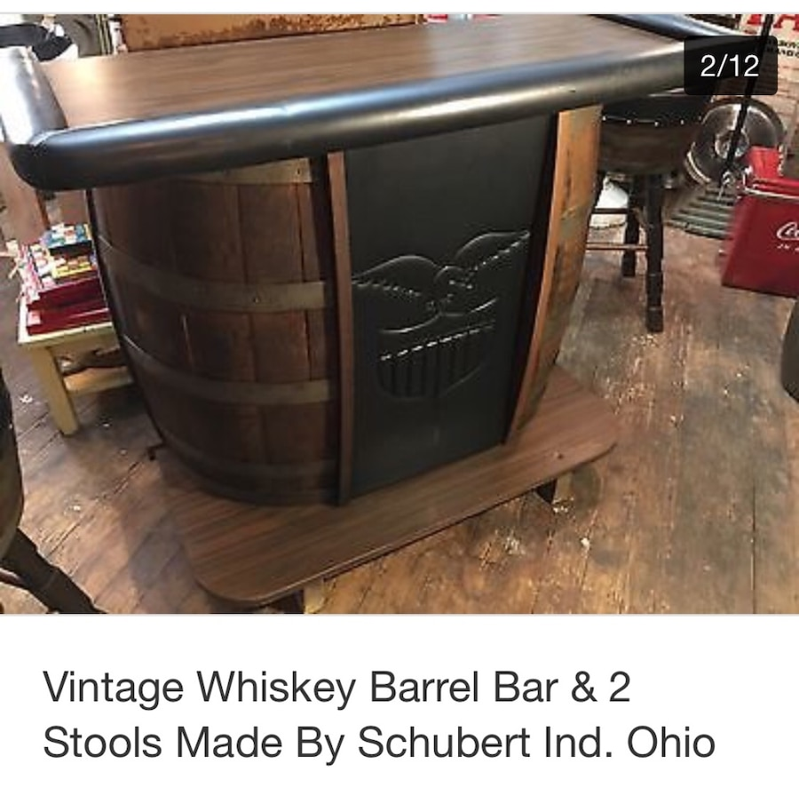 Used Vintage Whiskey Barrel Bar And 2 Stools In Dandridge