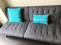 Tufted gray fabric 3-seat sofa