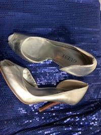 Guess Metallic Silver Peeptoe Pumps Size 7 Dumfries, 22025