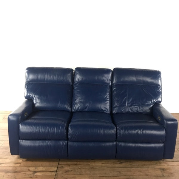 Begagnad Omnia Blue Leather Upholstered Three Cushion Reclining Sofa