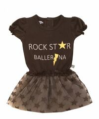 Toddler's black, grey crew-neck blouse with tutu skirt outfit