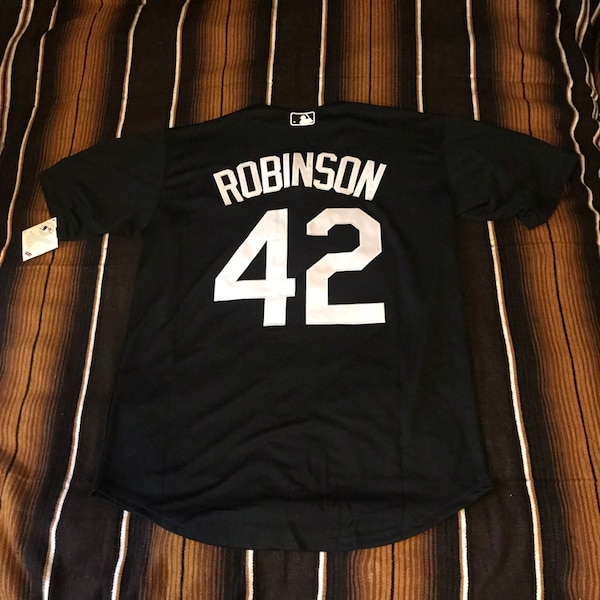 new concept 9ca42 4c1dd Jackie Robinson black and white dodgers jersey size LARGE