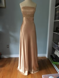 Cache Gold Sequins Beaded Lace Up Back Gown Prom Size 6 Mansfield, 02048