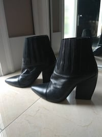 Size 7 Italian Made Black Leather Ankle Boots  Vancouver, V5N 4B9