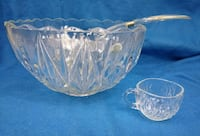 clear cut glass punch bowl set Haddon Heights