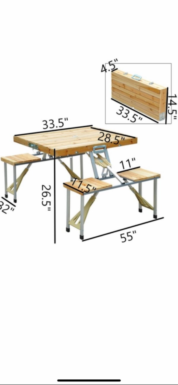 Small folding picnic table.  26bdac8d-8522-41d2-8fbe-247b332657f0