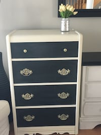 """Beautiful antique dresser painted in Annie Sloan old white and granite grey   28"""" wide 17"""" deep 44"""" high  Kitchener, N2A 4K2"""