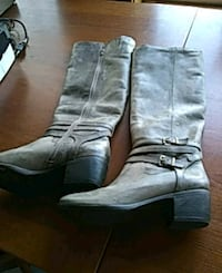pair of gray leather knee-high boots New Orleans