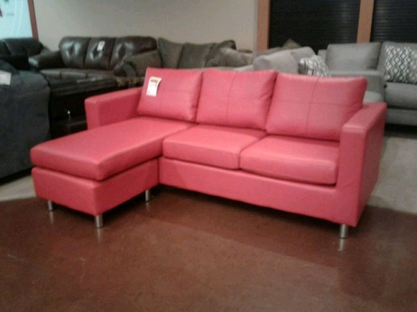 Used Red Bonded Leather Sofa W/ Chaise Or Ottoman for sale in ...