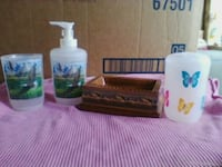 Plastic cup,,soap pump,,tooth brush holder,&dish. Linden, 17744