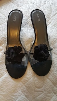 pair of black open toe stilettos Size 8