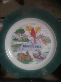 round white, green, and red Kentucky print decorative plate Liberty, 64068