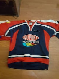blue and red Oupont Motorsports jersey shirt Surrey, V3T 1Z3
