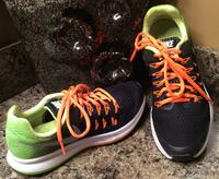 Nike black, green, tangerine, silver, & white mesh running shoes Calgary, T2J