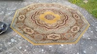 brown and white floral area rug LONDON