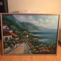 Large Original Oil Painting On Canvas Harbor Scene Seascape  signed by D.Holmes Falls Church, 22041