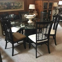 Round Glass Table with chairs - built in lazy susan White Rock