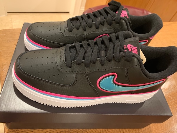 new concept bd221 360c4 Miami Heat Vice Nike Air Force 1 Shoes Limited Edition South Beach