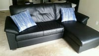 black leather sectional sofa with throw pillows San Francisco, 94109