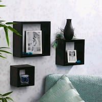 Set of three wooden shelves (black) 296 mi