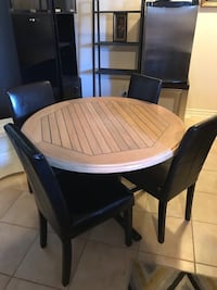 Original Round brown wooden table with four chairs dining set 759 km