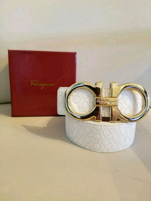 db1a3783a646 Used gold Salvatore Ferragamo buckle with white leather belt for sale in Royal  Palm Beach - letgo