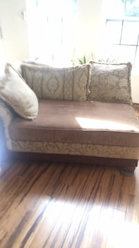 brown and white fabric sofa