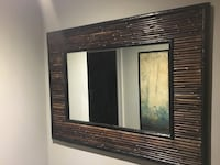 Bamboo mirror, 3.6 feet wide x 2.75 feet high. It's sturdy, heavy material. $85 Mississauga, L5A 1C2