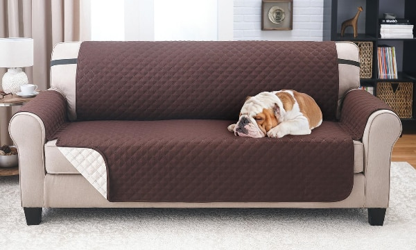 Water-resistant Quilted Reversible Sofa Cover (Brown/Beige)
