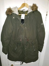 Size 12 H&M Green Parka Coat