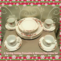 4 SERVING HOLIDAY POINSETTIA & RIBBONS FINE CHINA Ontario, 91762