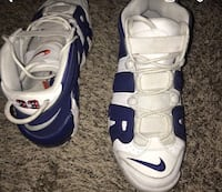 Pair of white-and-blue nike basketball shoes Hyattsville, 20785