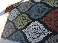 black and white floral area rug PHOENIX