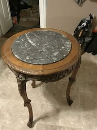 round brown wooden framed marble top side table Smithtown, 11787