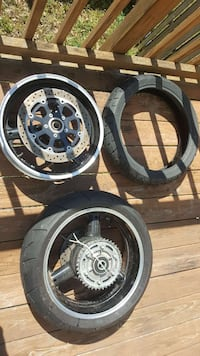 "17"" Black motorcycle Rims and tires Triangle"