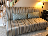 white and gray striped fabric 2-seat sofa 32 km