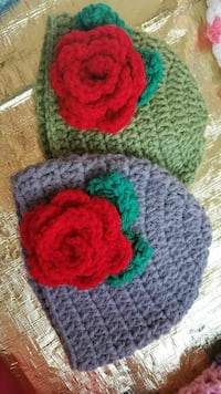 green and purple knitted cap with red rose ornaments 2260 mi