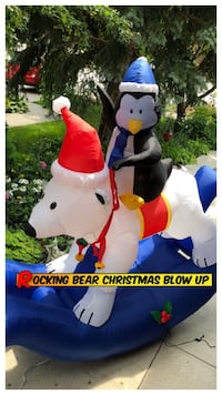 SALE Rocking Bear Christmas Blow Up 7 ft