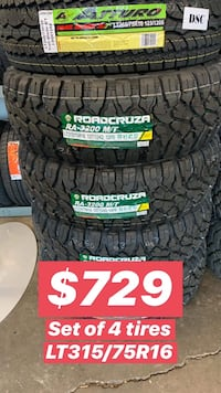 315/75R16LT SET OF 4 TIRES ON SALE WE CARRY ALL MAJOR BRAND AND SIZE WE FINANCE NO CREDIT NEEDED  Concord, 94520