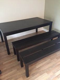 Dining benches and table