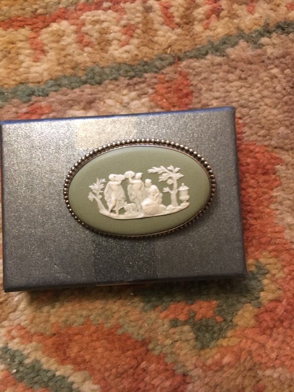 Vantage Wedgwood brooche sage green length 4cm approx width 2/3cm approx