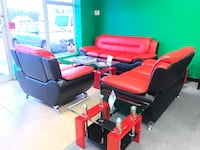 Beautiful Living Room Set- 3 pcs - Sofa, Loveseat, Chair In Red And Black Color Johnston, 02919