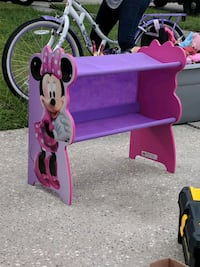 purple and pink Minnie Mouse themed vanity table Tampa