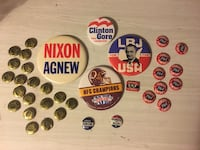 1964 Political Buttons, plus on Redskin Warrenton, 20186