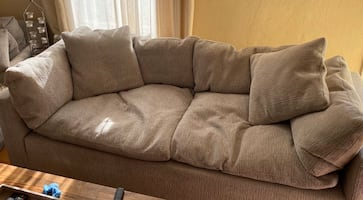 Plush sofa and chaise chair